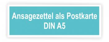 Ansagezettel als Postkarte A5