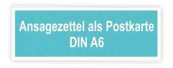Ansagezettel als Postkarte A6