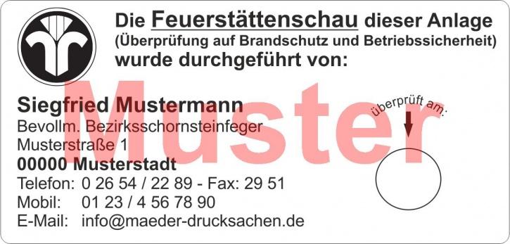 """Haftetiketten """"Feuerstättenschau"""" Papier weiß, Schwarzdruck"""