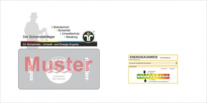 """Briefumschläge DIN Lang """"Energieausweis"""", mit Dienstleistungsmarke """"Schornsteinfeger"""""""