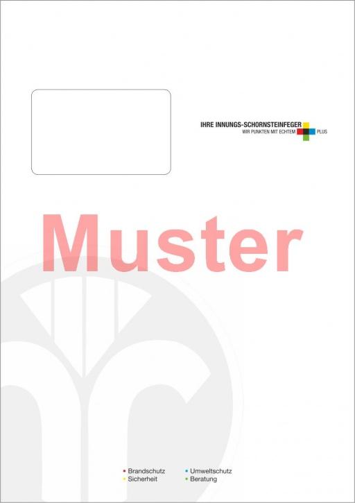 """Briefumschläge DIN C4 Aktion """"Innungsfeger"""" mit Dienstleistungsmarke"""