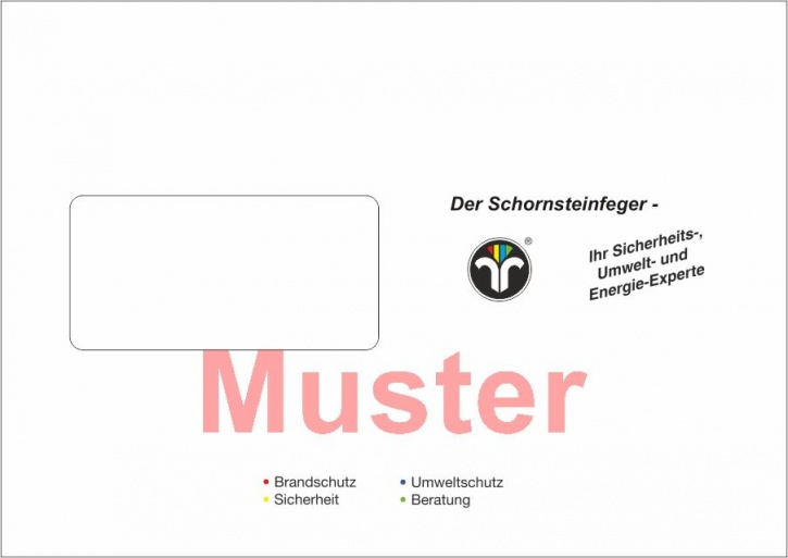 """Briefumschläge DIN C5 mit Dienstleistungsmarke """"Schornsteinfeger"""""""