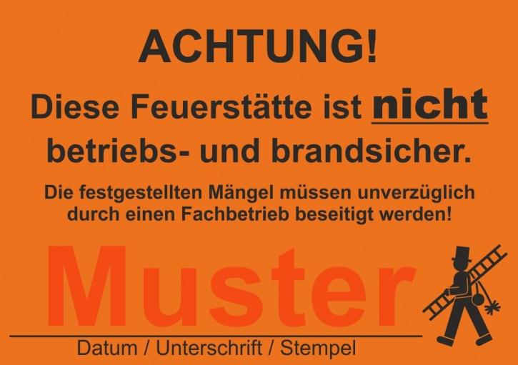 """Kesselaufkleber, leuchtend orange, """"Feuerstätte ist nicht betriebs- und brandsicher"""""""