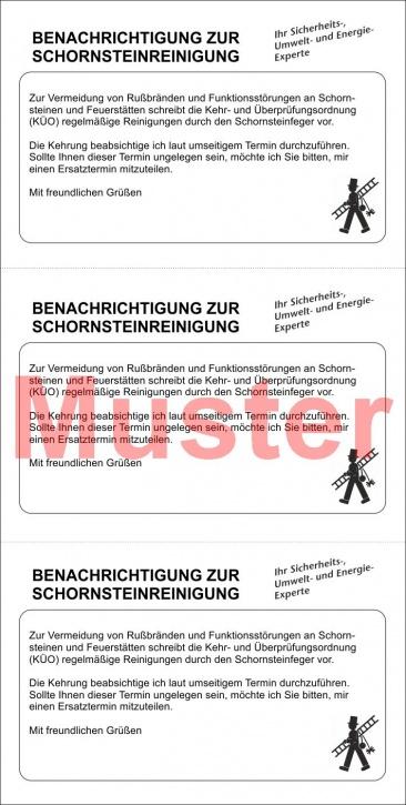 """Postkarte """"Benachrichtigung zur Schornsteinreinigung"""""""