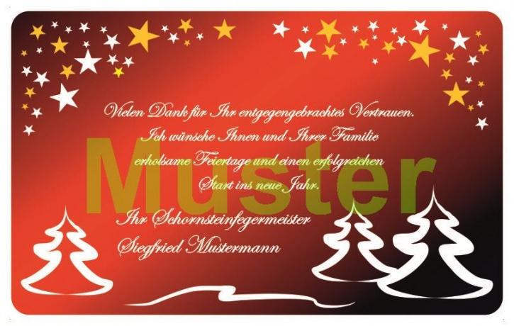 Weihnachtskarte im Scheckkartenformat, MOTIV Tannen und Sterne