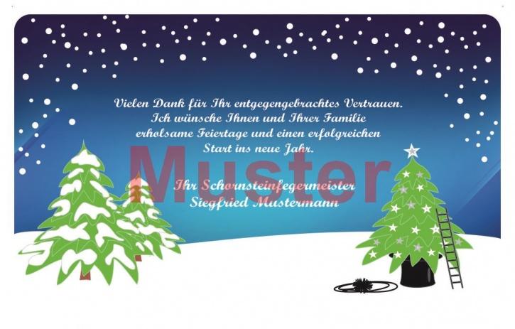 Weihnachtskarte im Scheckkartenformat, MOTIV Tannen und Leiter