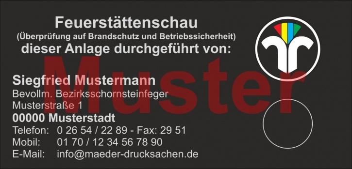 """Haftetiketten """"Feuerstättenschau"""", mit farbigem Logo,"""