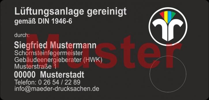 """Haftetiketten """"Lüftungsanlage gereinigt"""", PET Folie schwarz, farbiges ZIV Logo"""