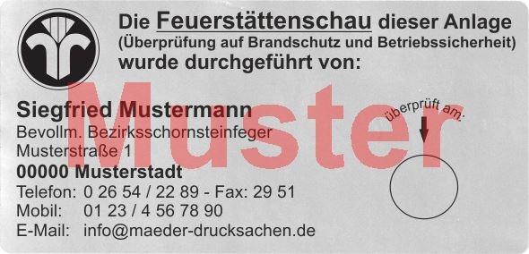 """Haftetiketten """"Feuerstättenschau"""" PET Folie, Schwarzdruck"""