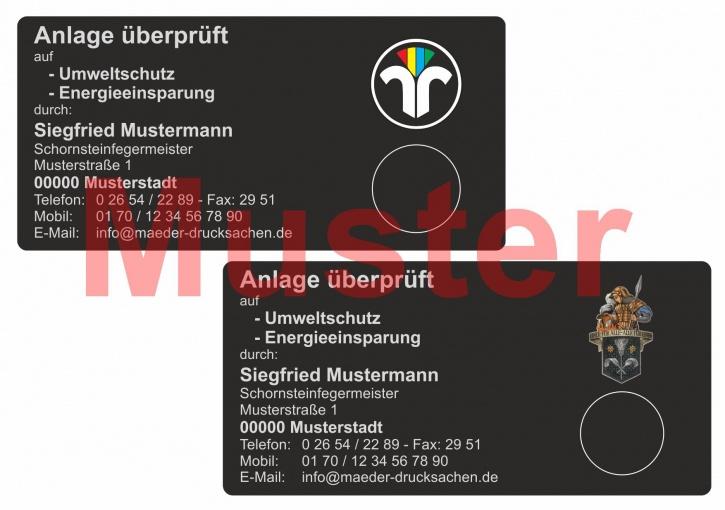 """Haftetiketten """"Anlage überprüft"""", farbiges Logo, PET Folie schwarz"""