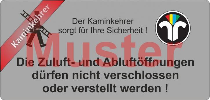 """Haftetiketten PET - """"Zuluft..."""" - ZIV Logo - """"Kaminkehrer"""""""