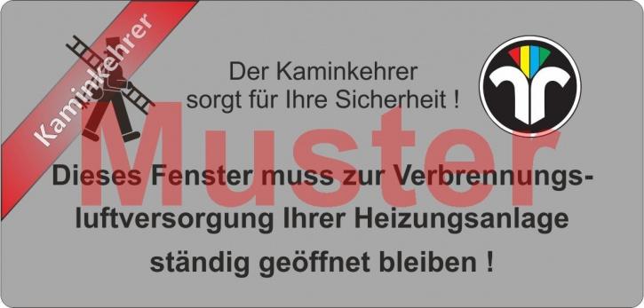 """Haftetiketten PET - """"Dieses Fenster ..."""" - ZIV Logo - """"Kaminkehrer"""""""