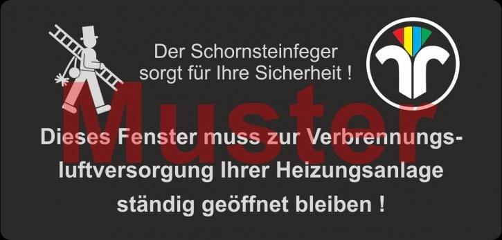"""Haftetiketten - """"Zuluft..."""" - ZIV-Logo, PET Folie schwarz"""