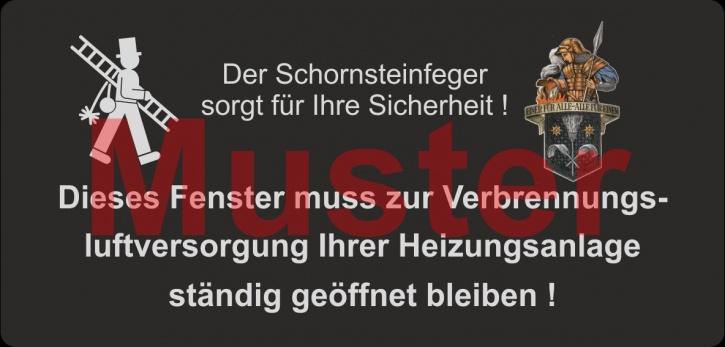 """Haftetiketten - """"Dieses Fenster ..."""" - Florian Logo, PET Folie schwarz"""