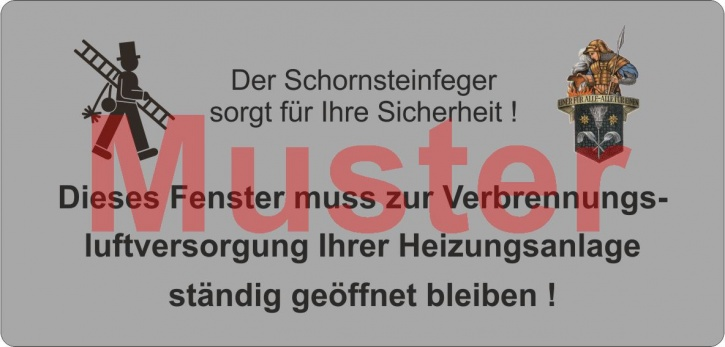 """Haftetiketten PET """"Dieses Fenster ..."""" mit Emblem Florian """"Schornsteinfeger"""""""