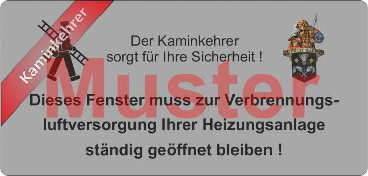"""Haftetiketten PET """"Dieses Fenster ..."""" - Emblem Florian - """"Kaminkehrer"""""""