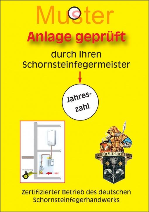 Prüfanhänger für Gasanlagen, Emblem Florian, ohne Firmeneindruck