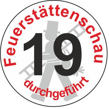 """Jahreszahl - Etiketten """"2019"""" """"Feuerstättenschau durchgeführt"""""""