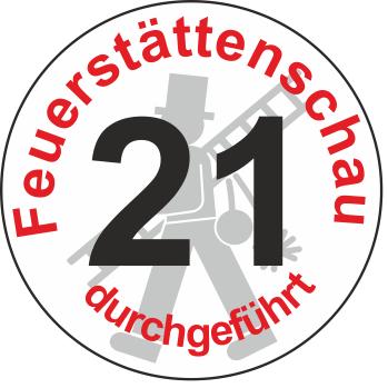 """Jahreszahl - Etiketten """"2021"""" """"Feuerstättenschau durchgeführt"""""""