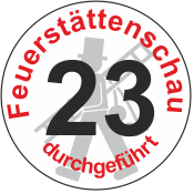 """Jahreszahl - Etiketten """"2023"""" """"Feuerstättenschau durchgeführt"""""""