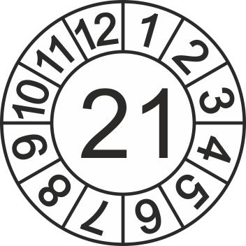 """Jahreszahl - Etiketten """"2021"""" auf Blatt"""