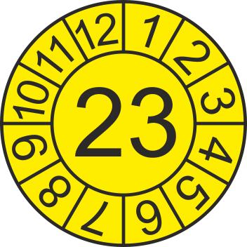 """Jahreszahl - Etiketten """"2023"""" auf Blatt"""