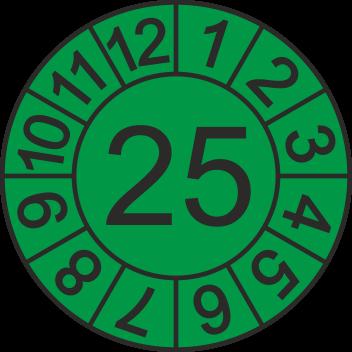 """Jahreszahl - Etiketten """"2025"""" auf Blatt"""