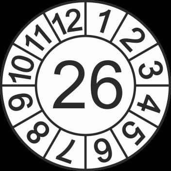 """Jahreszahl - Etiketten """"2026"""" auf Blatt"""