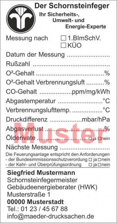 """Kesselaufkleber """"Öl- und Gasfeuerung"""" geblockt, Schwarzdruck, mit Firmeneindruck"""