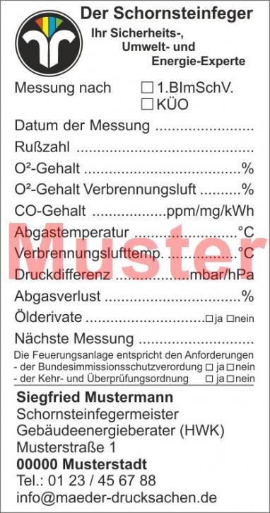 """Kesselaufkleber """"Öl- und Gasfeuerung"""" geblockt, Farbdruck, mit Firmeneindruck"""