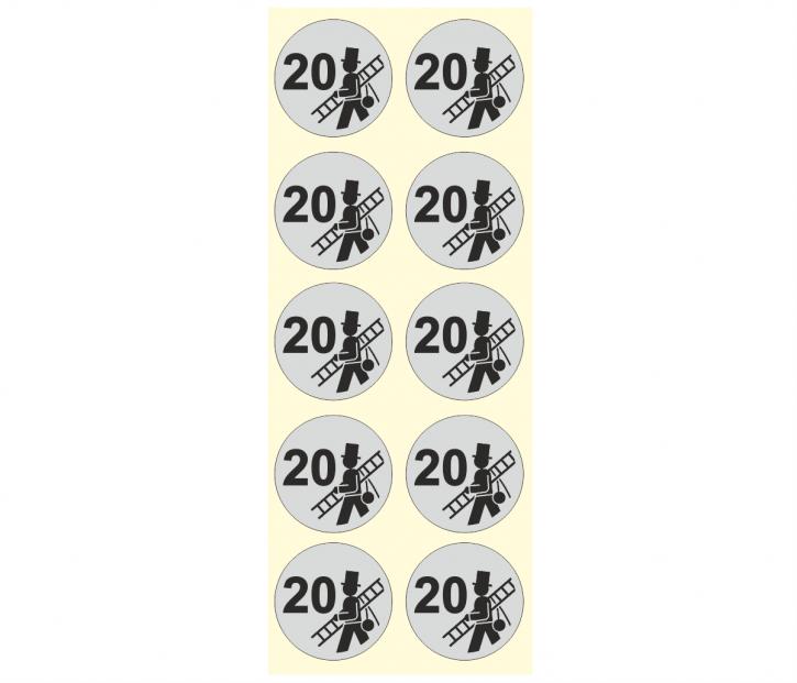 """Verschlussetiketten ALU, 30 mm - Aufdruck """"Feger + Jahreszahl"""" 2020, hitzebeständig bis 90°"""