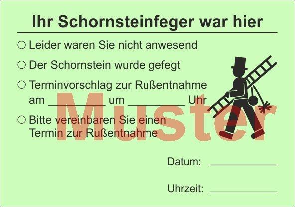 """AZ DIN A7 """"Der Schornsteinfeger war hier..."""" - Grün"""