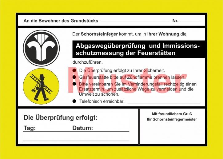 """AZ 2-farbig """"Abgaswegüberprüfung und ..."""" - DIN A5, ohne Firmeneindruck"""