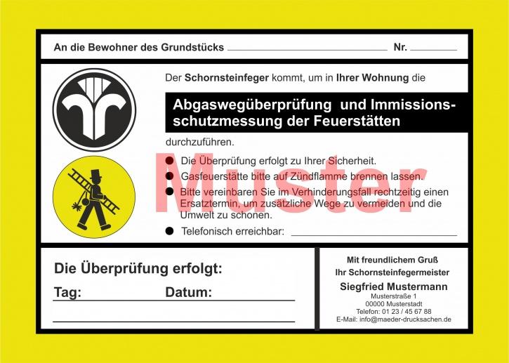 """AZ 2-farbig """"Abgaswegüberprüfung und ..."""" - DIN A5, mit Firmeneindruck"""