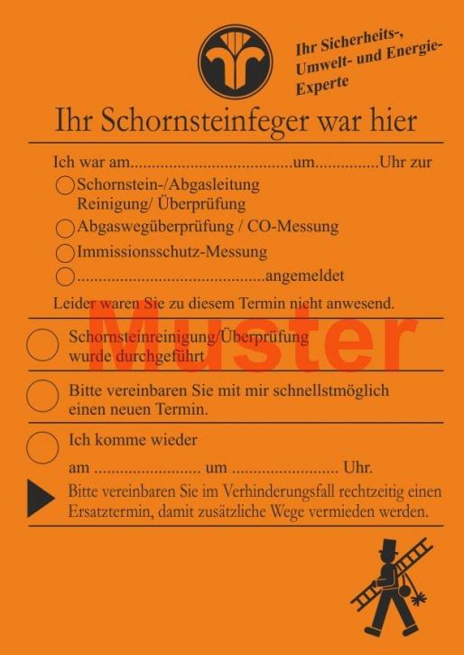 """AZ DIN A6 """"Ihr Schornsteinfeger war hier ..."""" ohne Firmeneindruck - Orange"""