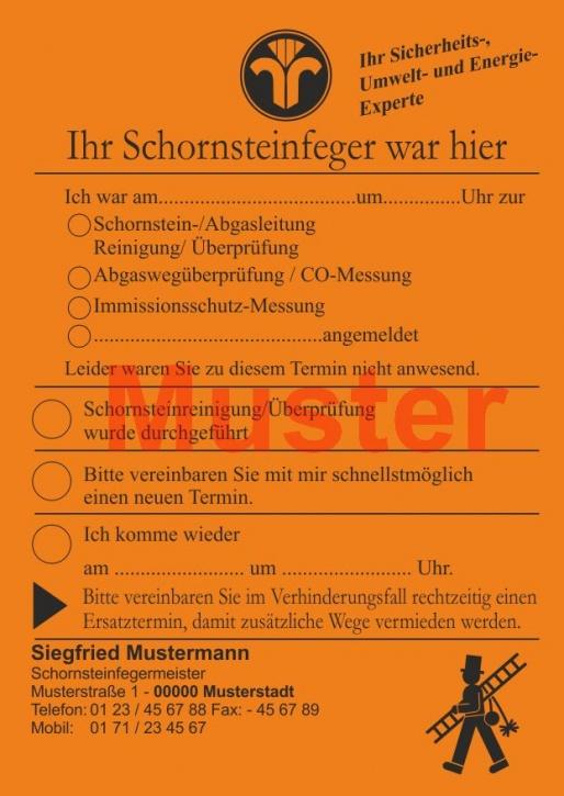 """AZ DIN A6 """"Ihr Schornsteinfeger war hier ..."""" mit Firmeneindruck - Orange"""