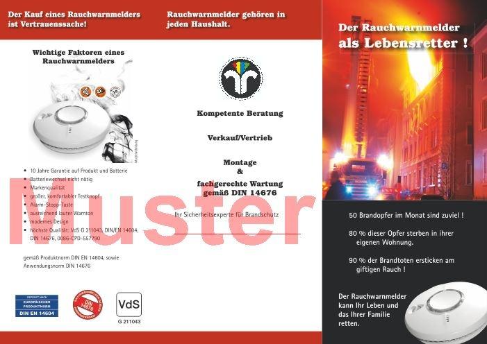 """Falz-Flyer """"Rauchwarnmelder"""" mit Dienstleistungsmarke, ohne Firmeneindruck"""