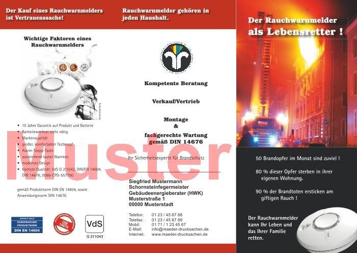 """Falz-Flyer """"Rauchwarnmelder"""" mit Dienstleistungsmarke, mit Firmeneindruck"""