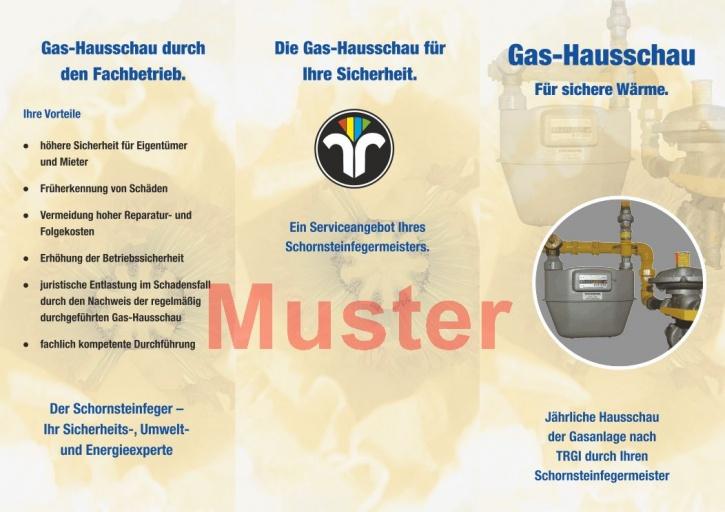 Falz-Flyer Gashausschau mit Dienstleistungsmarke, ohne Firmeneindruck