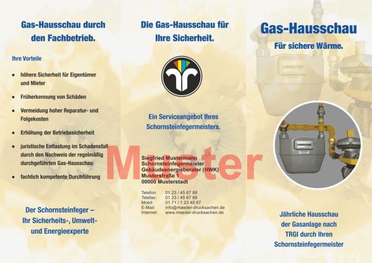 Falz-Flyer Gashausschau mit Dienstleistungsmarke, mit Firmeneindruck