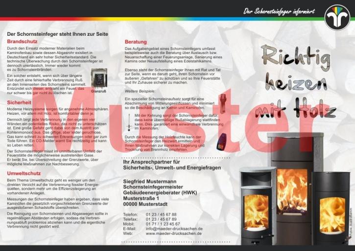 """Falz-Flyer """"Richtig heizen mit Holz"""", ZIV, mit Firmeneindruck"""