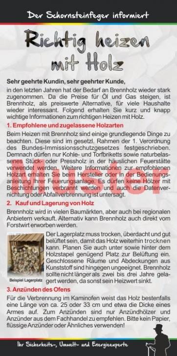 """Kompakt-Flyer """"Heizen mit Holz"""", ohne Firmeneindruck"""
