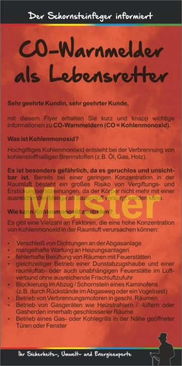 "Kompakt-Flyer ""CO-Warnmelder"", ohne Firmeneindruck"