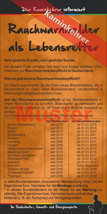 """Kompakt-Flyer """"Rauchwarnmelder"""", ohne Firmeneindruck, Kaminkehrer"""
