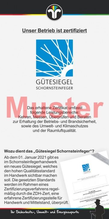 "Kompakt-Flyer ""Gütesiegel Schornsteinfeger"", ohne Firmeneindruck"