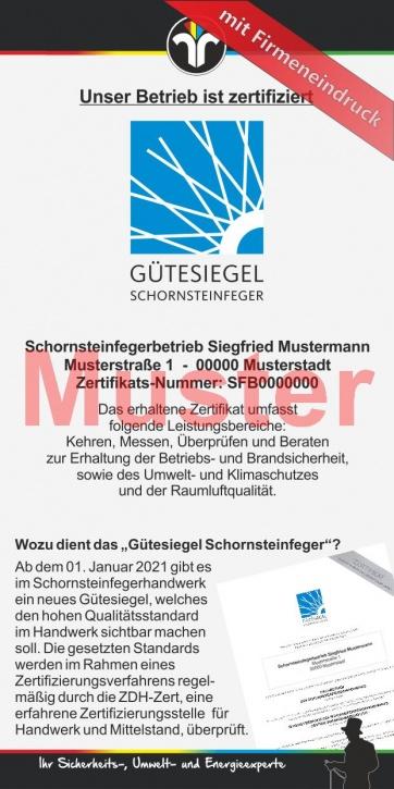 """Kompakt-Flyer """"Gütesiegel Schornsteinfeger"""", mit Firmeneindruck"""
