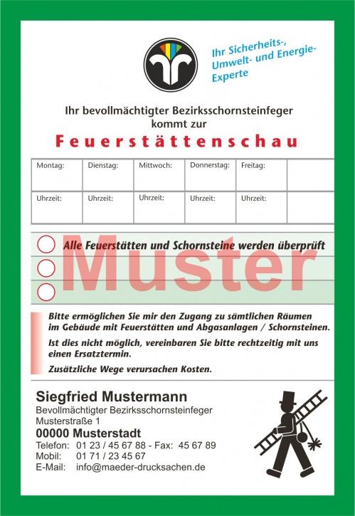 """AZ """"Feuerstättenschau"""" - DIN A6, ZIV-Logo, mit Streifengummierung, mit Firmeneindruck"""