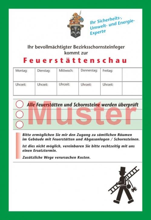 """AZ """"Feuerstättenschau"""" - DIN A6, """"Florian"""", mit Streifengummierung, ohne Firmeneindruck"""