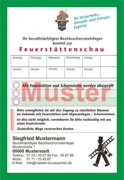 """AZ """"Feuerstättenschau"""" - DIN A6, """"Florian"""", mit Streifengummierung, mit Firmeneindruck"""