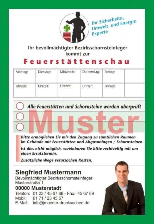"""AZ """"Feuerstättenschau"""" - DIN A6, eigenes Design, mit Streifengummierung, mit Firmeneindruck"""